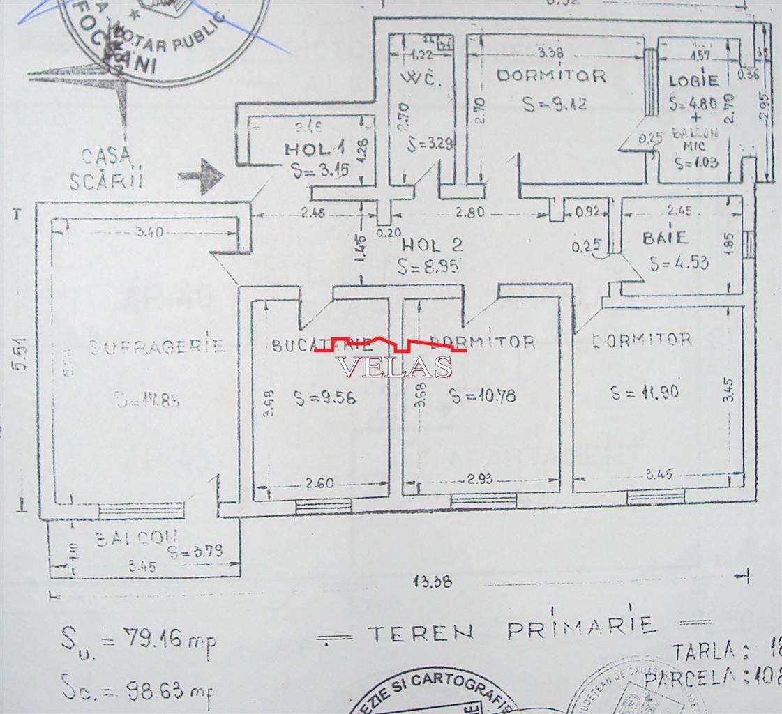 Apartament 4 camere , et 3, CT, balcon si logie, 80 mp